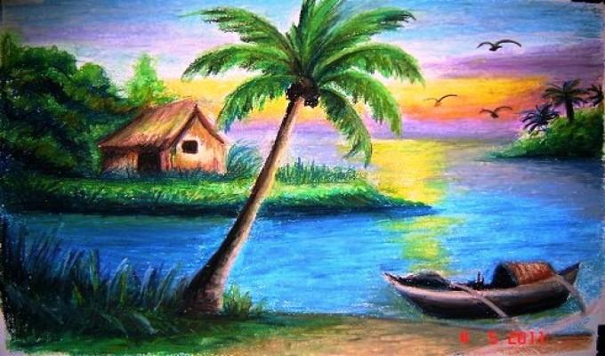 بالصور رسم منظر طبيعي , الابداع الفني ورسومات لمناظر طبيعيه 2466 5