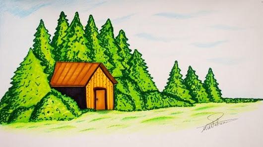 صور رسم منظر طبيعي للاطفال , علم طفلك طربقه رسم منظر طبيعي