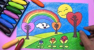 صوره رسم منظر طبيعي للاطفال , علم طفلك طربقه رسم منظر طبيعي