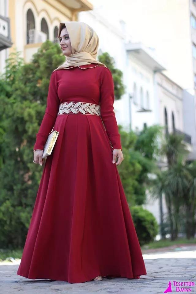 بالصور فساتين سهرة محتشمة , نماذج لفستان سهرة مقفول للمحجبات 1245 10
