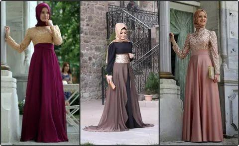 بالصور فساتين سهرة محتشمة , نماذج لفستان سهرة مقفول للمحجبات 1245 11