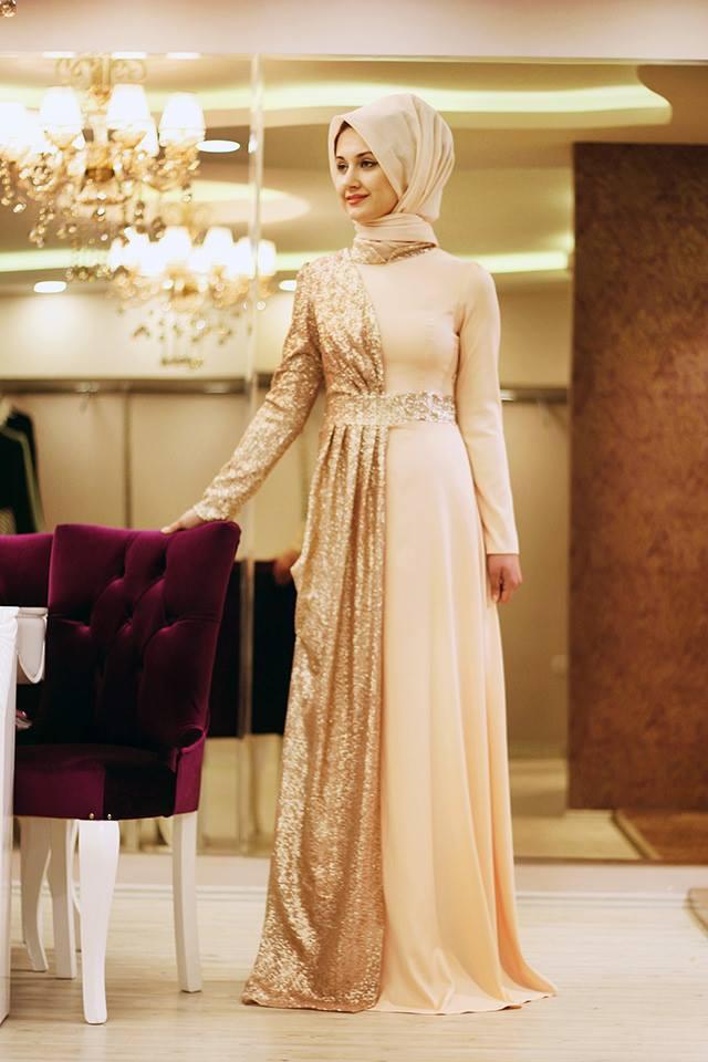 بالصور فساتين سهرة محتشمة , نماذج لفستان سهرة مقفول للمحجبات 1245 2