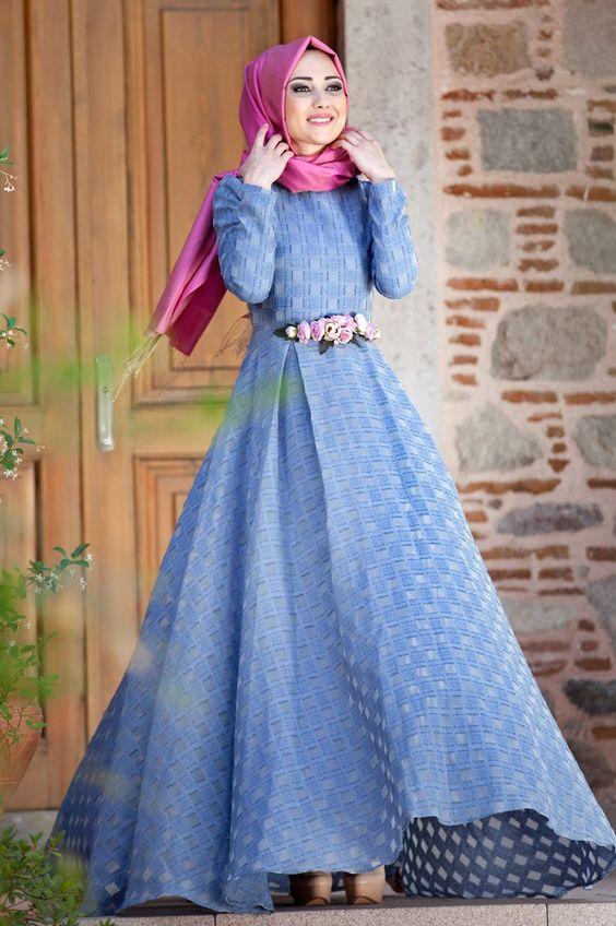 بالصور فساتين سهرة محتشمة , نماذج لفستان سهرة مقفول للمحجبات 1245 3