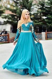 بالصور فساتين سهرة محتشمة , نماذج لفستان سهرة مقفول للمحجبات 1245 8