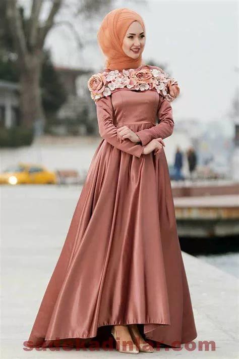 بالصور فساتين سهرة محتشمة , نماذج لفستان سهرة مقفول للمحجبات 1245 9