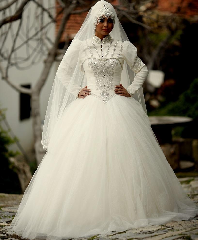 صورة فساتين اعراس للمحجبات , تصميمات وموديلات محتمشة لفساتين الاعراس