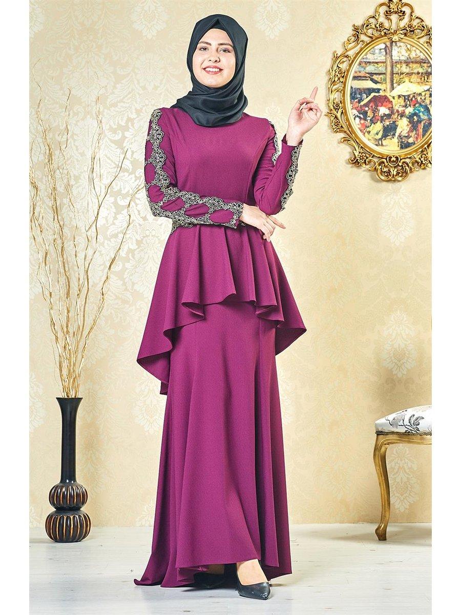 بالصور ملابس سهرة , اجمل لباس سوارية للمحجبات 1351 4