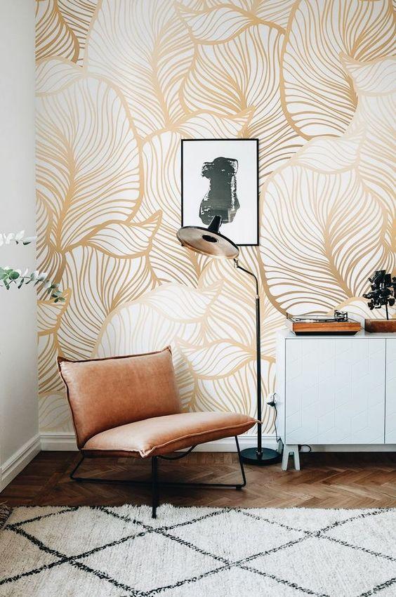 صوره اشكال ورق جدران , اخفاء عيوب الجدران واطلالات عصرية من خلال ورق الحائط
