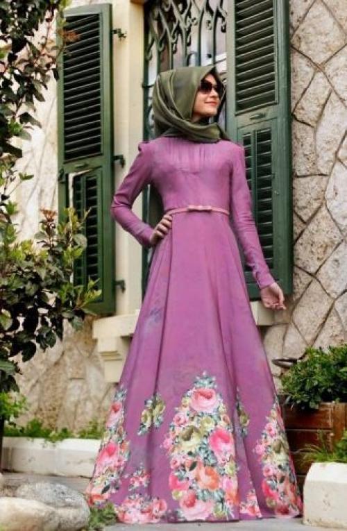 صورة فساتين تركية للمحجبات , اجمل ستايل للفستان التركى الطويل