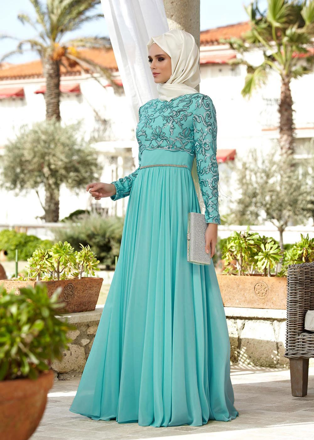 بالصور فساتين سهرة طويلة , احلى فستان طويل عصيرى ومتميز يناسب المحجبات 358 7