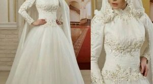 صوره فساتين اعراس للمحجبات , تصميمات وموديلات محتمشة لفساتين الاعراس
