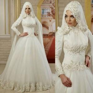 فساتين اعراس للمحجبات , تصميمات وموديلات محتمشة لفساتين الاعراس