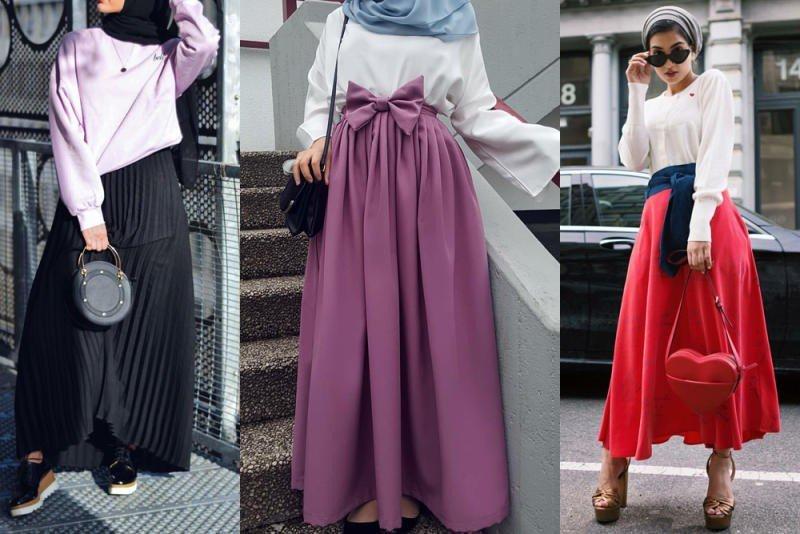 صورة تنورة طويلة للمحجبات 2019 , اشكال تنورة طويلة للمحجبات 2019
