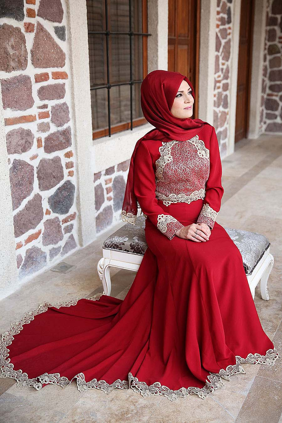 بالصور فساتين سهرة حمراء , شاهد شياكة الفستان الاحمر 10986