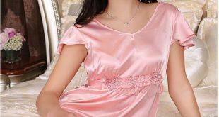 صورة عرض ازياء قمصان نوم, انواع أقمشة قمصان